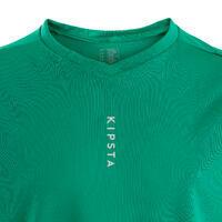 Kids' Short-Sleeved Football Shirt F500 - Plain Green