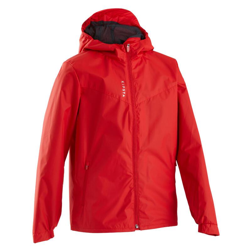 Kids' Rainproof Football Jacket T500 - Red