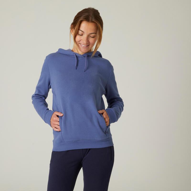 Sudadera con capucha fitness bolsillo canguro azul