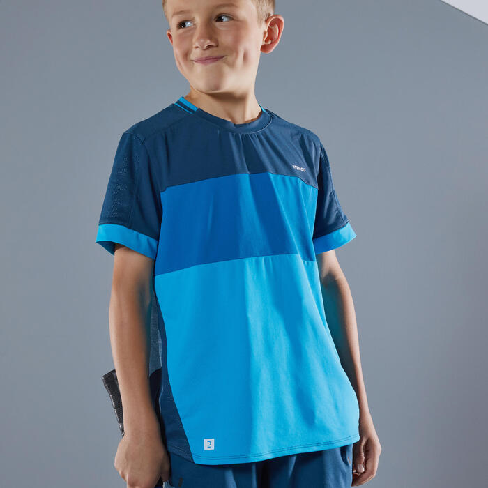 Tennis-Shirt 500 Jungen blau