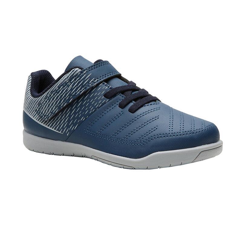 Chaussures de Futsal 100 enfant bleu blanc