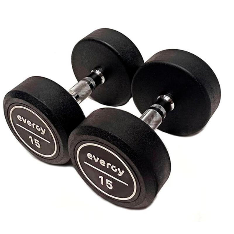 Mancuerna 15 kg Goma Evergy Fitness Musculación CrossFitness