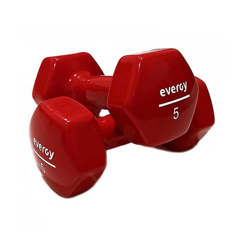 Mancuernas Vinilo 2 x 5kg. Fitness Gym Pilates Evergy rojo