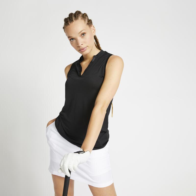 Women s golf sleeveless polo shirt WW900 black