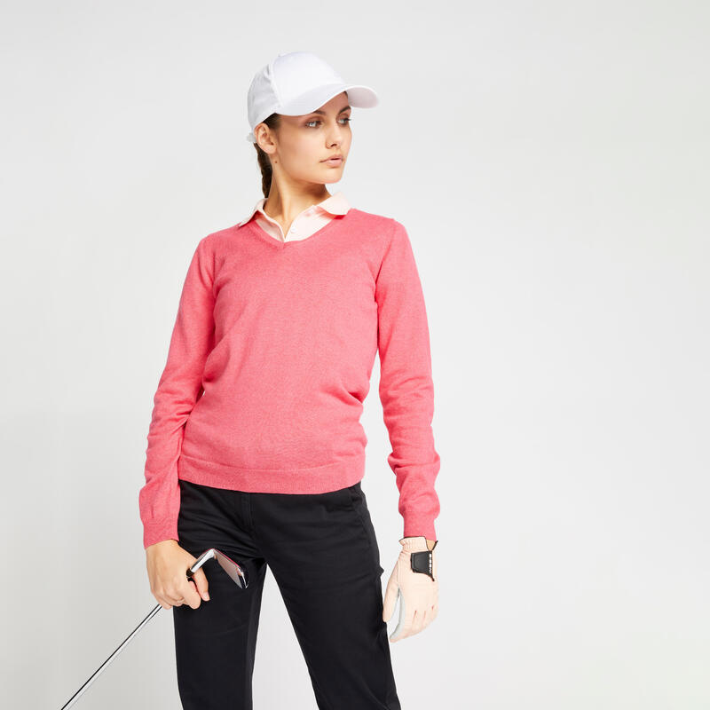 Pull de golf col V femme MW500 rose fraise chiné