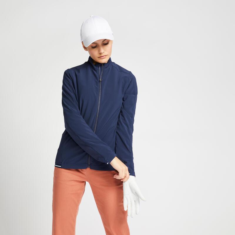 Women's golf water-repellent windbreaker RW500 navy blue