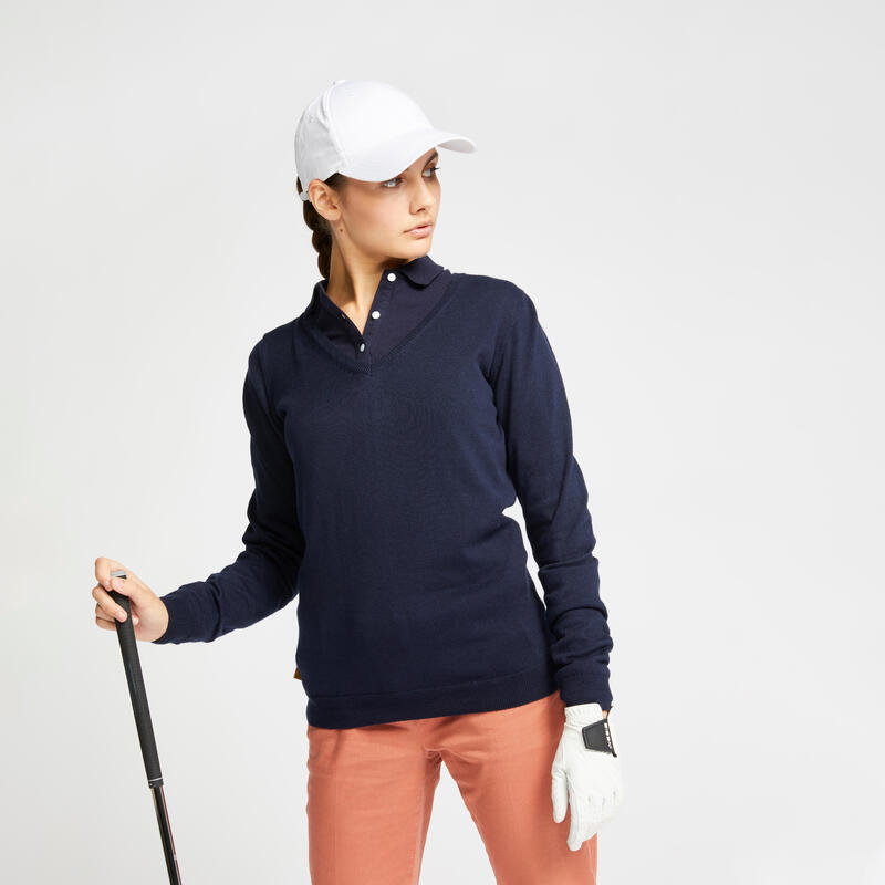 Women's golf V-neck pullover MW500 navy blue