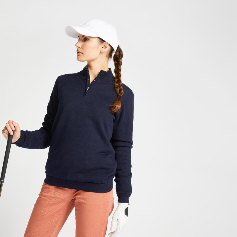 Women's golf windbreaker pullover MW500 navy blue