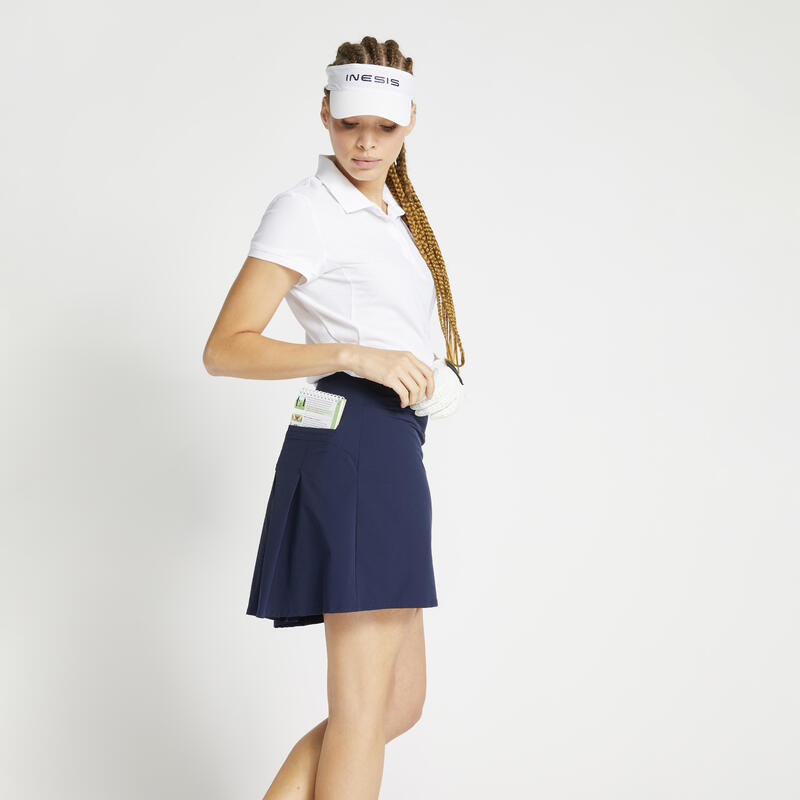 Polo de golf manches courtes femme WW500 blanc