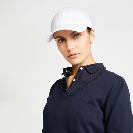 Pull de golf col V femme MW500 bleu marine