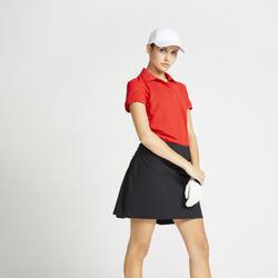Polo de Golf WW500 Manga Curta Mulher Vermelho