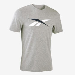 T-shirt fitness Reebok Logo manches courtes slim 100% coton col rond homme gris