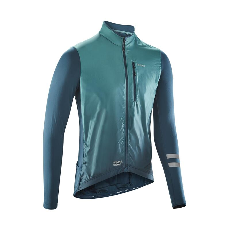 MAILLOT VELO ROUTE MANCHES LONGUES HOMME RC500 SHIELD VERT
