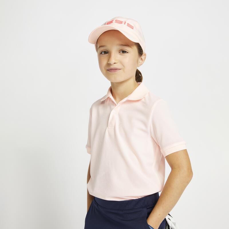 Kids golf short-sleeved polo shirt MW500 pink