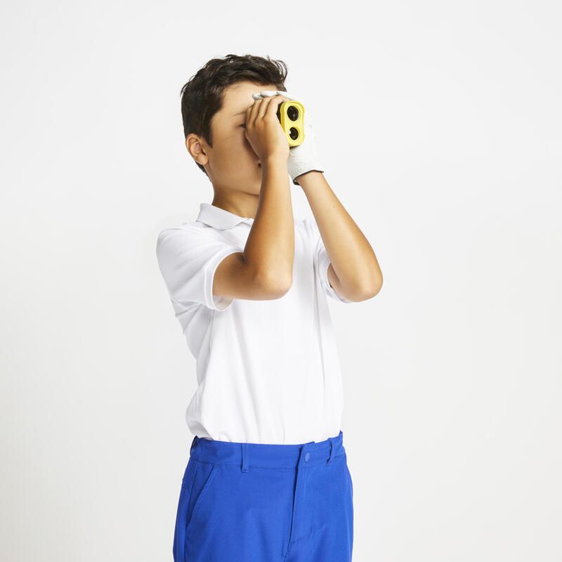 Kids golf short-sleeved polo shirt MW500 white