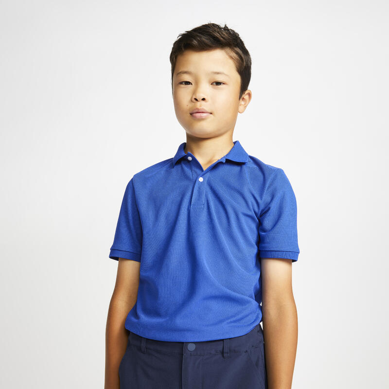 Kids golf short-sleeved polo shirt MW500 indigo blue