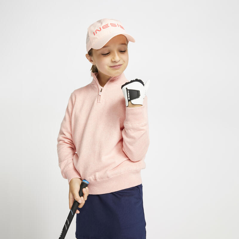 Kids golf windproof pullover MW500 pink
