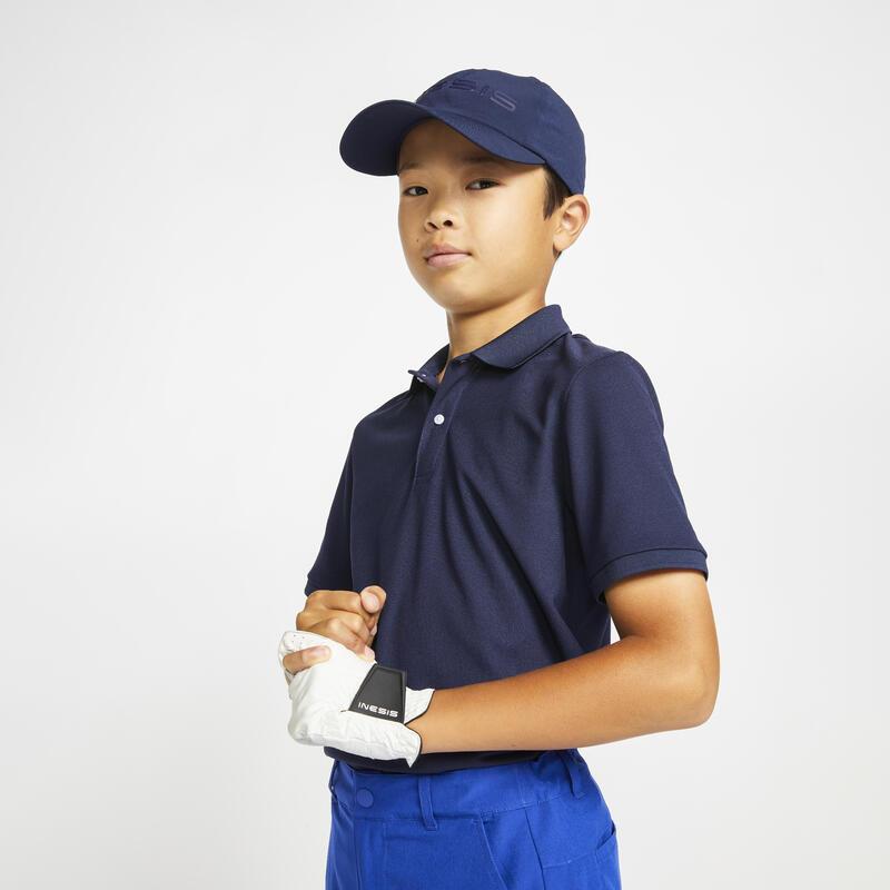 Kids golf short-sleeved polo shirt MW500 navy blue