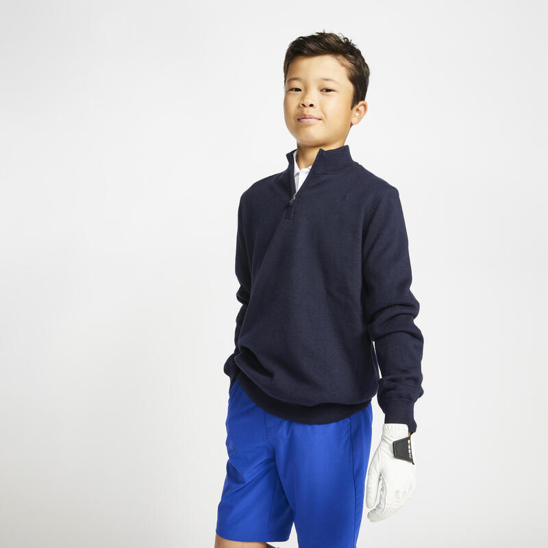 Kids golf windbreaker pullover MW500 navy blue