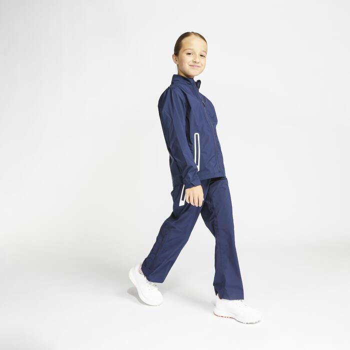 Veste de pluie de golf imperméable enfant RW500 bleu marine