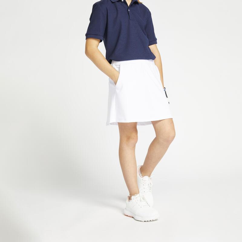 Jupe-short de golf fille MW500 blanche