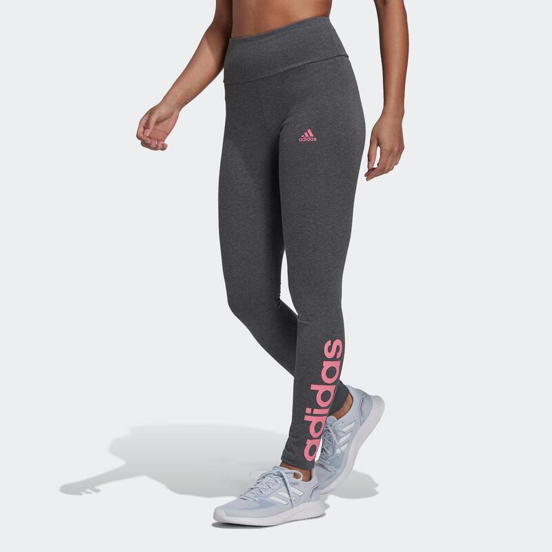 Legging fitness long coton majoritaire taille haute femme - Linear noir