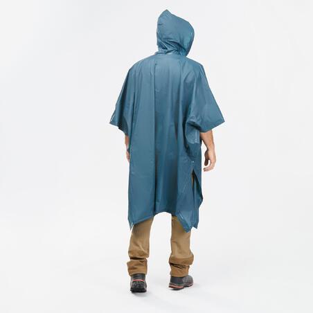 Poncho 50 de pluie randonnée - 10 L Turquoise adulte