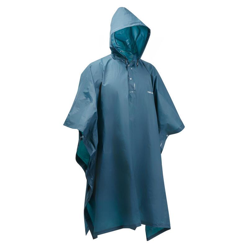 Adult Hiking Rain Poncho 50 - 10 L - turquoise