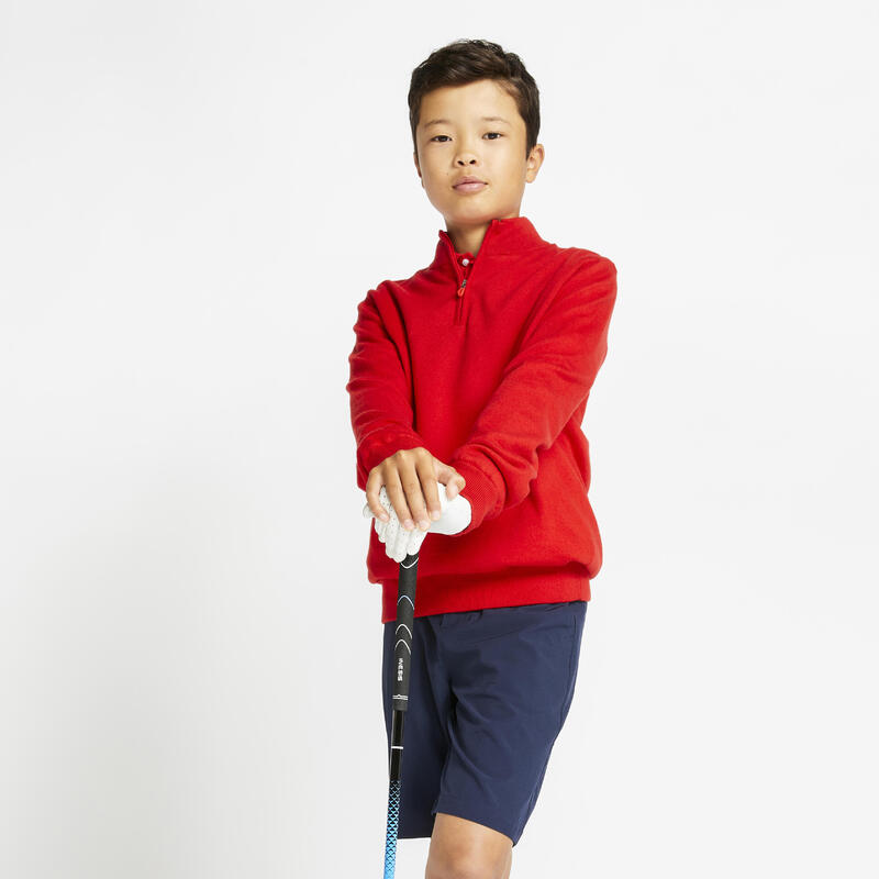 Kids' golf windproof pullover MW500 red