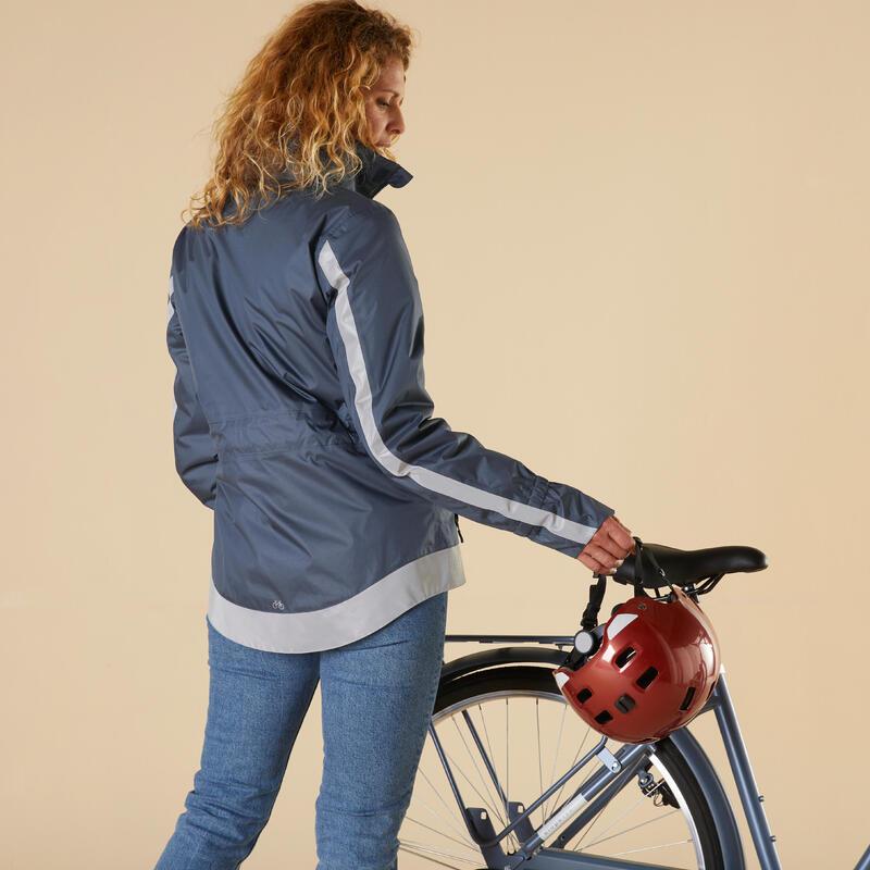 Women's Cycling Warm Rain Jacket 540 - Navy Blue