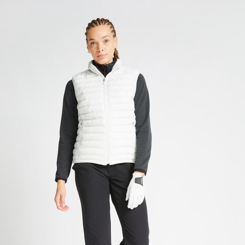 Doudoune sans manches de golf hiver femme CW500 blanc cassé