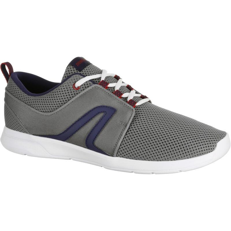 Herensneakers voor wandelen in de stad Soft 140 mesh grijs/blauw