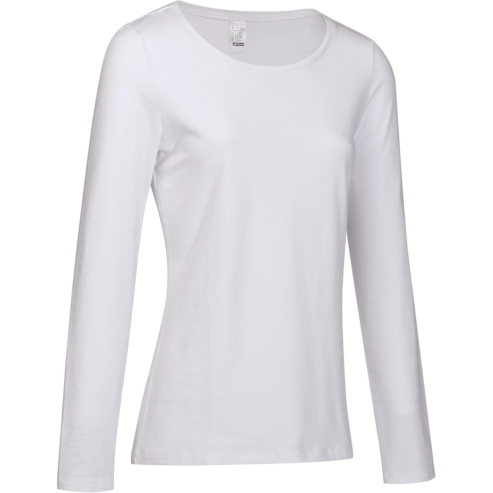 68d577eb437b4 T-shirt 100 manches longues Pilates Gym douce femme blanc