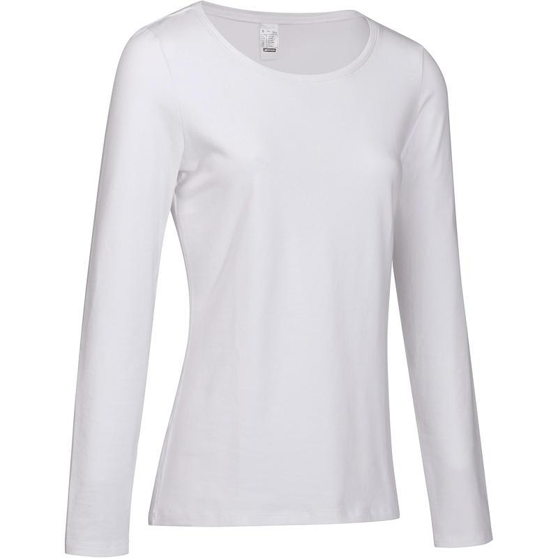 85a4643e7f Női póló kímélő kímélő tornához, pilateshez 100-as, hosszú ujjú, fehér |  Domyos by Decathlon