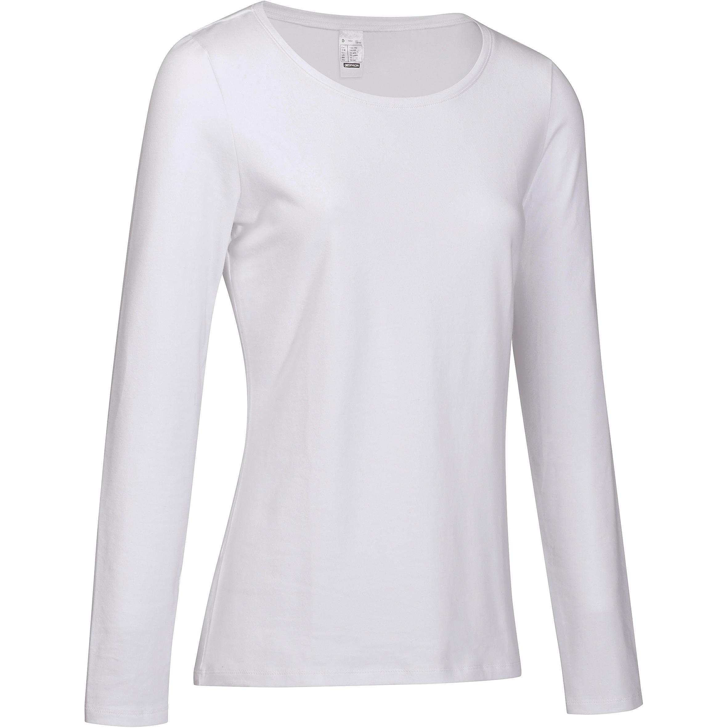 Domyos Dames T-shirt 100 met lange mouwen voor gym en stretching wit