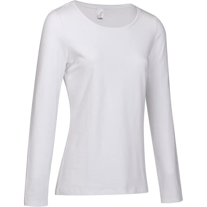 T-Shirt 100 manches longues Gym Stretching femme blanc