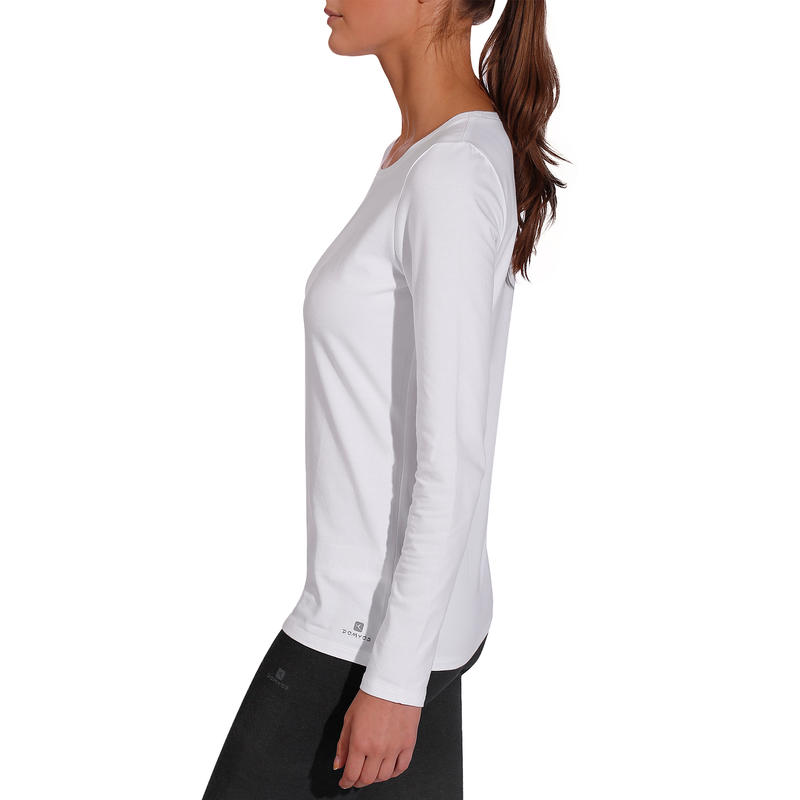 100 Women's Long-Sleeved Stretching T-Shirt - White