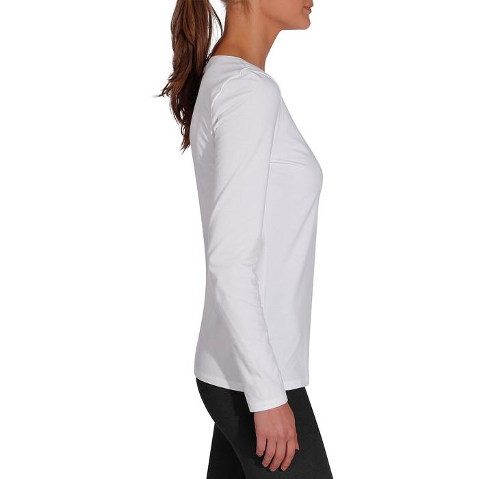 Dames T-shirt 100 met lange mouwen voor gym en stretching wit