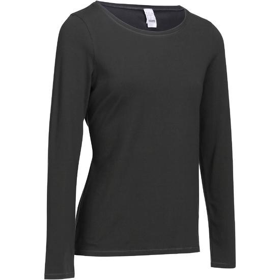 Dames T-shirt met lange mouwen voor gym en pilates felroze - 215027