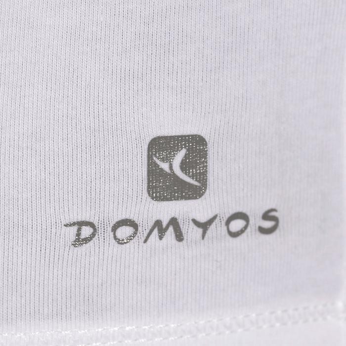 Camiseta 100 de manga larga Pilates y Gimnasia suave mujer blanco