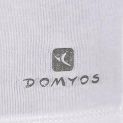 Dames T-shirt 100 met lange mouwen voor gym en stretching wit