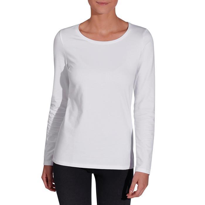 Camiseta Manga Larga Gimnasia Y Pilates Domyos 100 Con Algodón Mujer Blanco