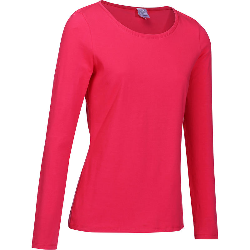 ef802a807f6b 100 Women s Long Sleeved Gym   Pilates T-Shirt - Bright Pink