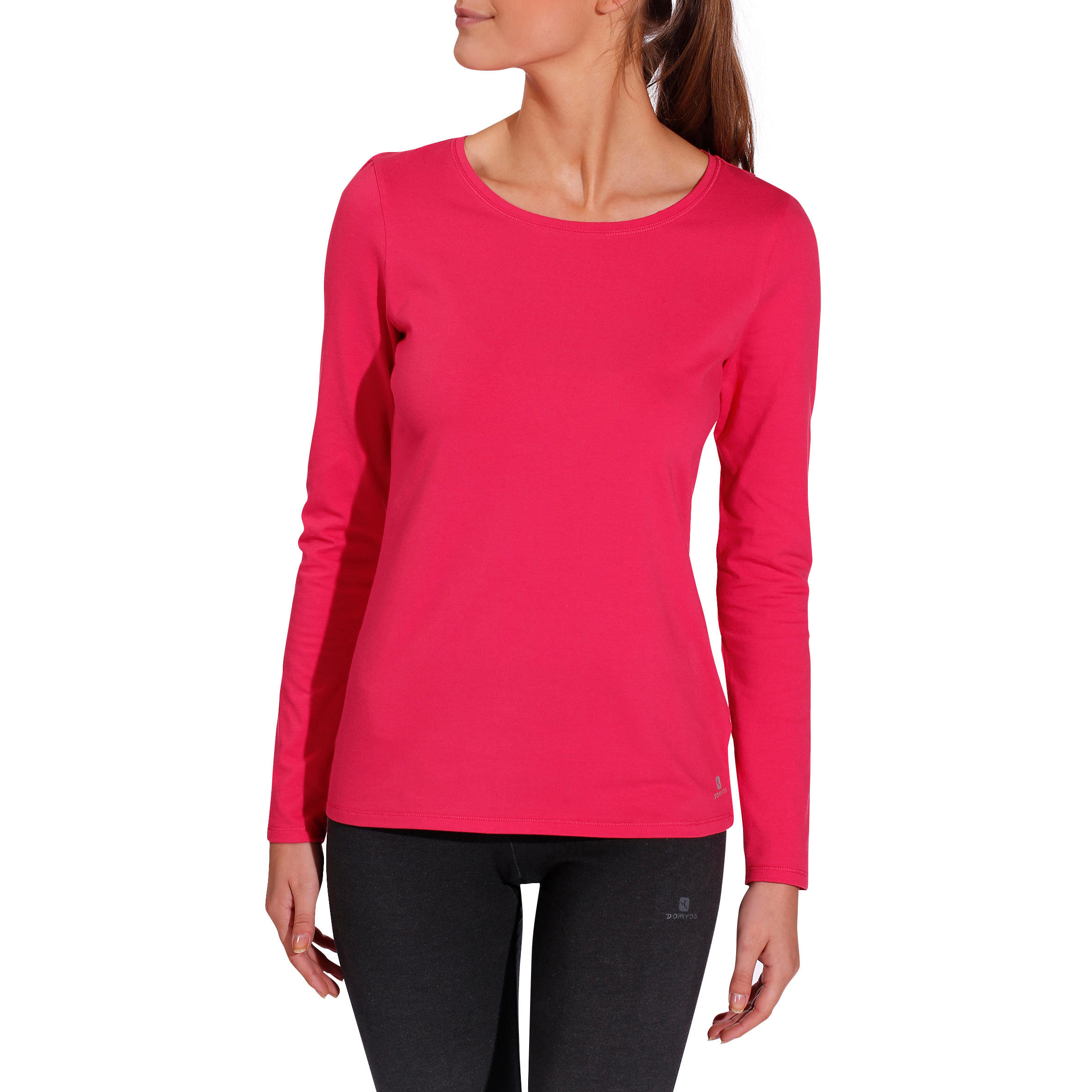 100 Women's Long Sleeved Gym & Pilates T-Shirt - Bright Pink