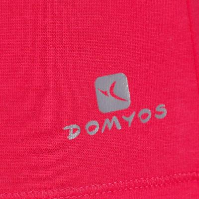 تيشرت الجمنازيوم وتمارين البيلاتس قصير الأكمام DOMYOS للسيدات - وردي فاتح