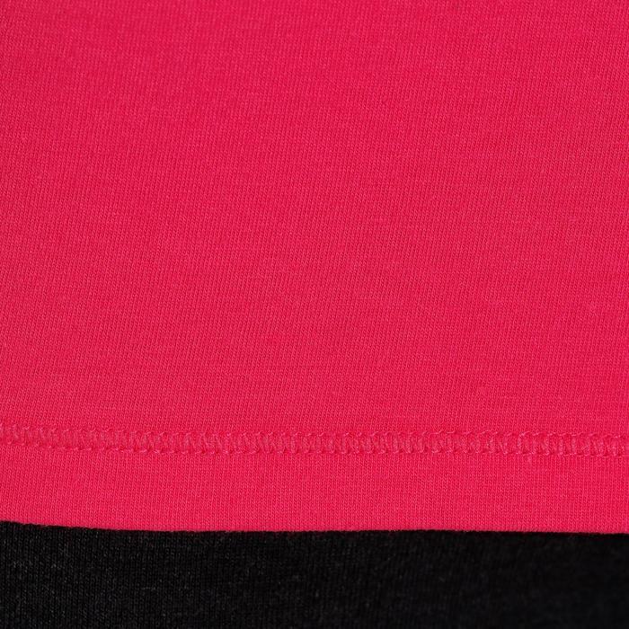 Damesshirt 100 met lange mouwen voor gym en pilates felroze