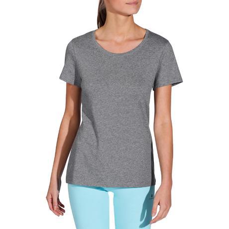 T-shirt 500 regular Pilates Gym douce femme gris chiné. Previous. Next 2b202fdad53