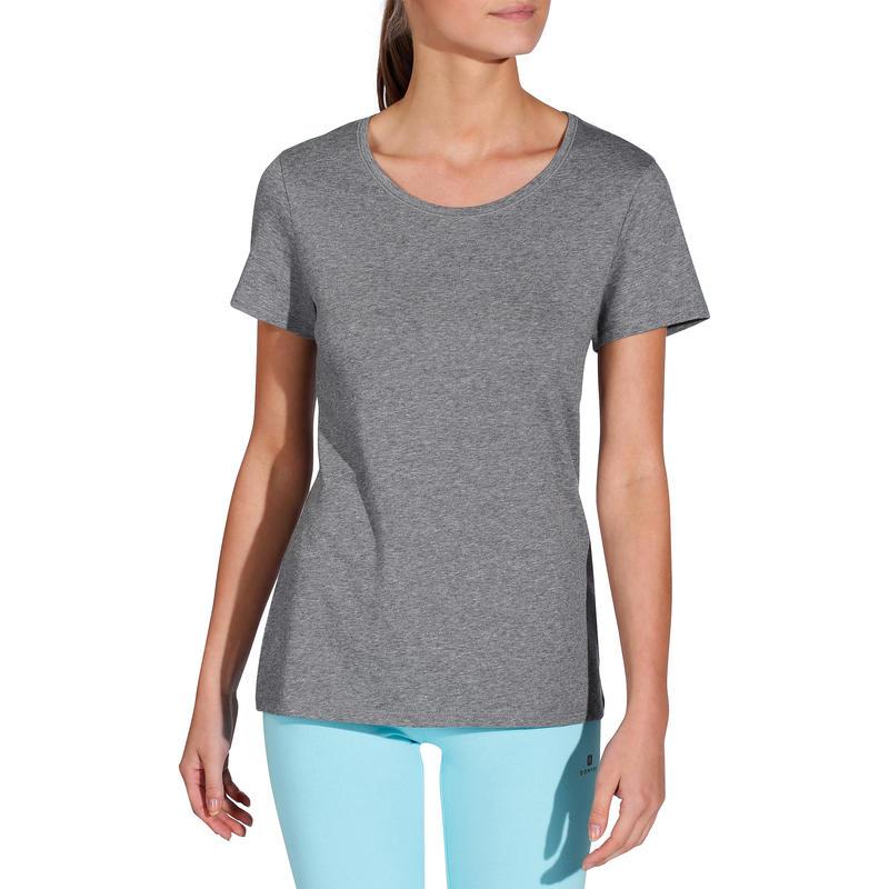 Women T-Shirt Half -sleeved Regular-Fit 500 Gym & Pilates - Mottled Grey