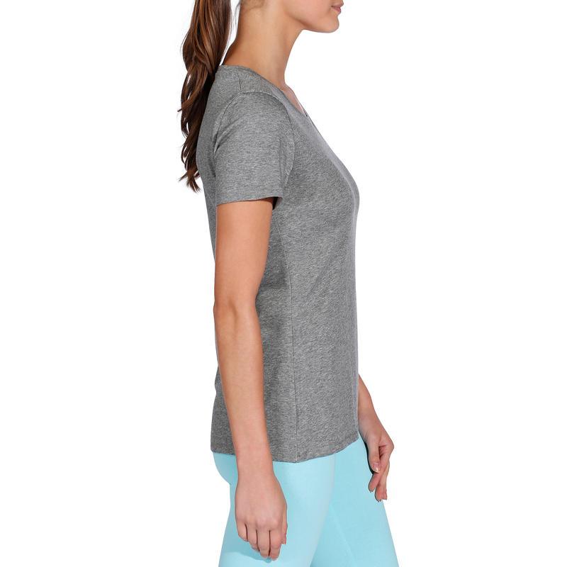 Women's Regular-Fit Short-Sleeved Gym & Pilates T-Shirt - Mottled Mid-Grey
