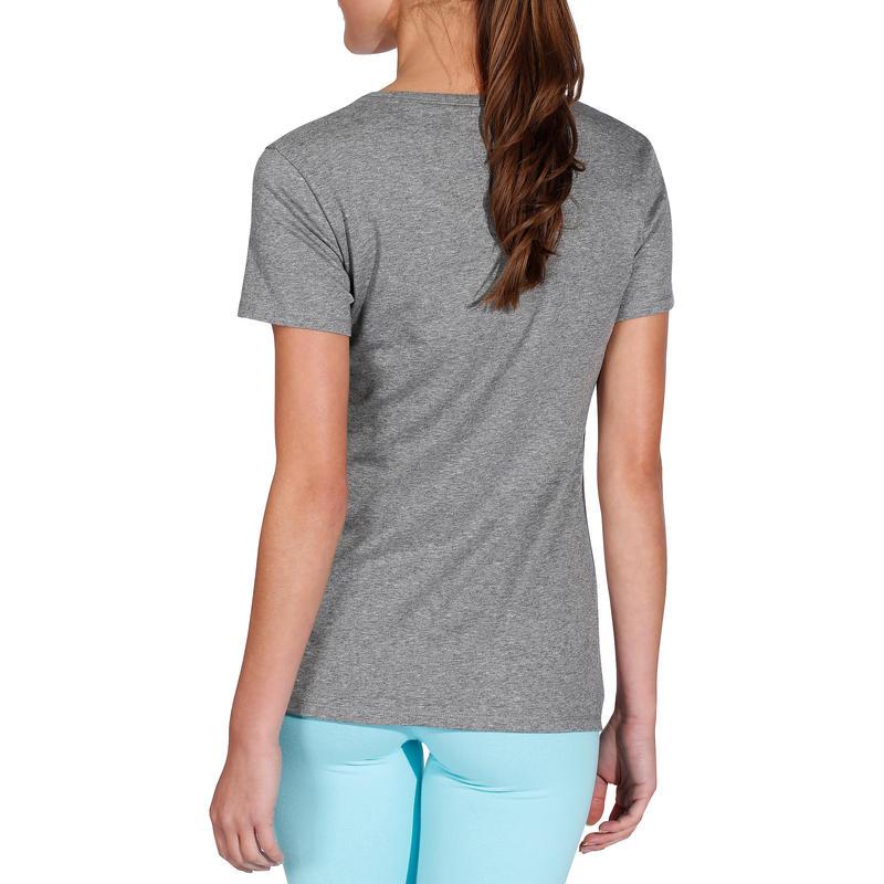 Camiseta 500 regular gimnasia Stretching mujer gris jaspeado